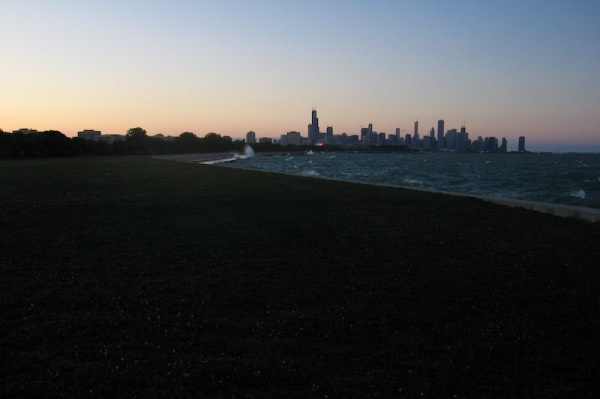 Sunset over Chicago from the Lake Front Trail, as I biked back to Hyde Park from some shopping on Michigan Ave.